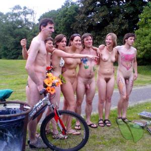 a bunch of nudists getting competitive in the wilderness