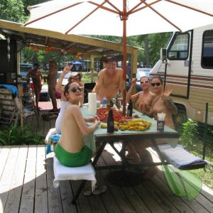 a group of nudists at the campground