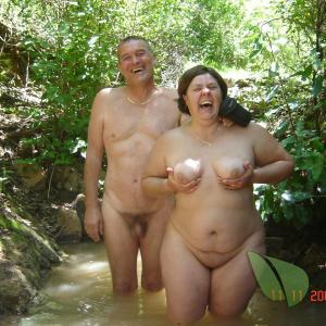 One nudists outside