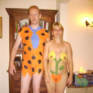One nude person enjoying halloween at their house