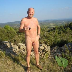 One nudist on a trail