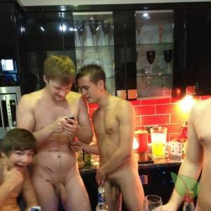 a group of guys at their house