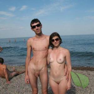 One nudist outdoors