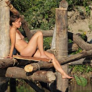 One woman outdoors