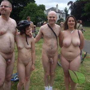 a bunch of nude people out and about