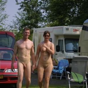 Solo naturist enjoying nature camping