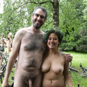 A nudists in the woods
