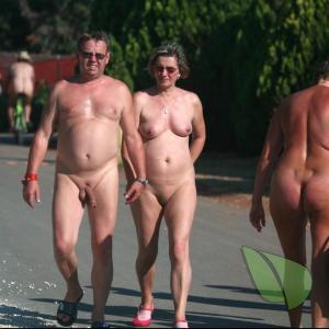 One nudist near the woods