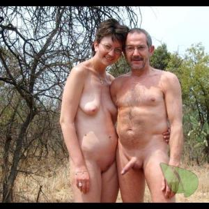 A nude couple in the woods