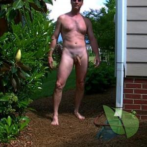 A male relaxing at home outdoors