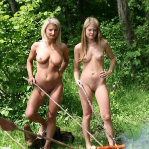 a couple women camping