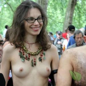 a bunch of nudist outdoors