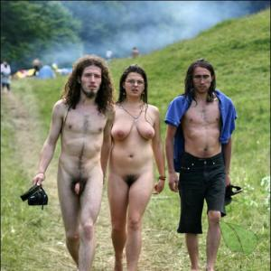 One nude person in nature