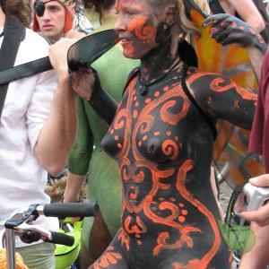 Solo woman wearing fun bodypaint