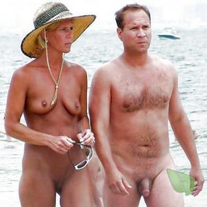 A nudist couple enjoying halloween out and about