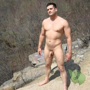 One nudist outdoors