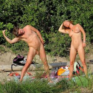 One naturist doing yoga poses