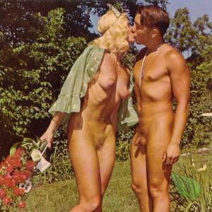 A nude person outdoors
