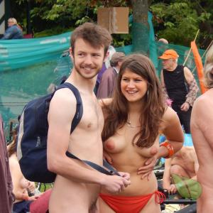 Solo nude friends in the wilderness