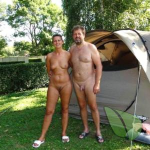 One nudist couple in the wilderness