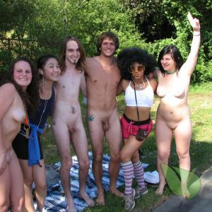 some nudists rocking tattoos in the woods