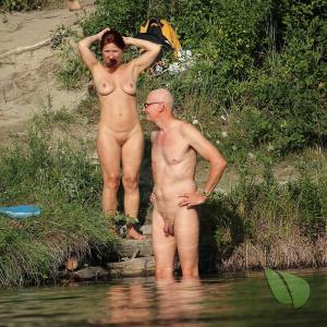 Solo nude couple at the campground