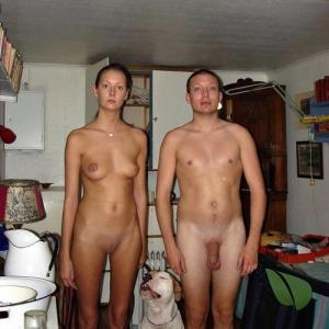 Solo nude friends sitting at home