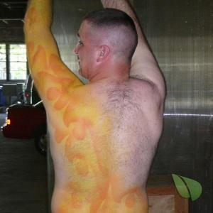 One guy covered in bodypaint