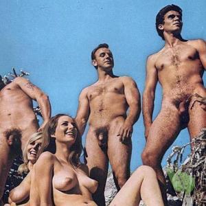 a couple co-ed nudists outdoors