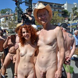 a bunch of co-ed nudists out and about