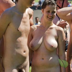One nude friends outside