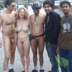 a crowd of naturists outside