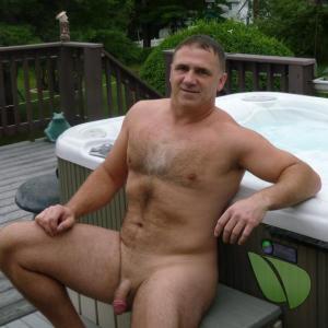 One nudist outside