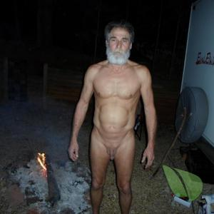 A dude out camping