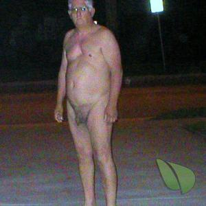 A nudist staying in outside