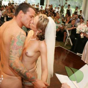 One nude couple all tattooed up