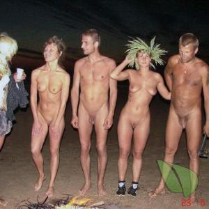 a bunch of naturist all dressed up in the woods