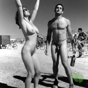 A nudist staying fit outdoors