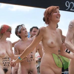 a couple naturist rocking bodypaint outside