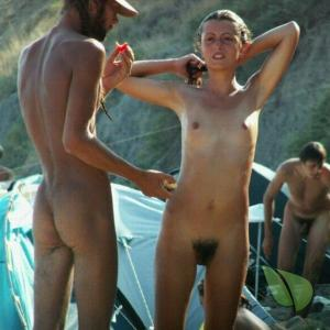 a crowd of naturists at the campground