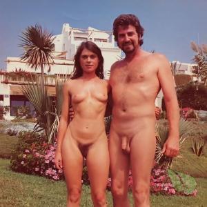 A nudist outside