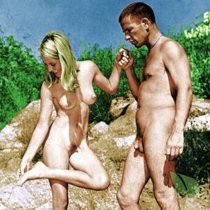 One nude person in the forest