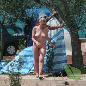 A lady camping