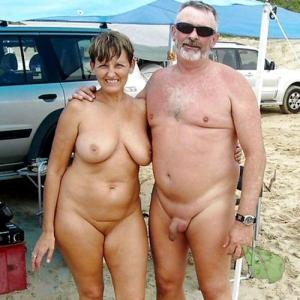 A nudist couple in the woods