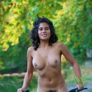 A female having fun in the wilderness