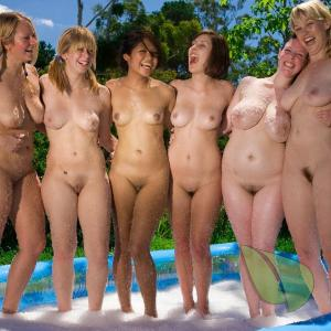 a crowd of girls splashing around
