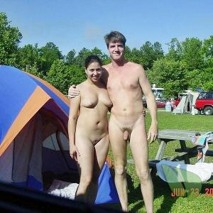 Solo nudist couple camping