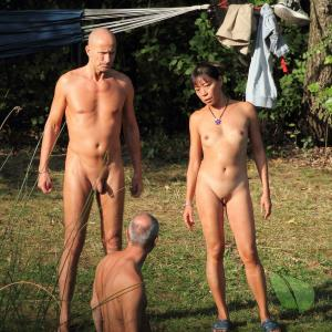 a crowd of naturist camping