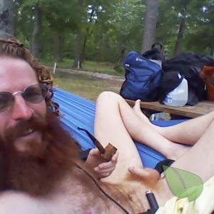 Solo dude enjoying nature out camping