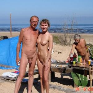 One nudists out camping